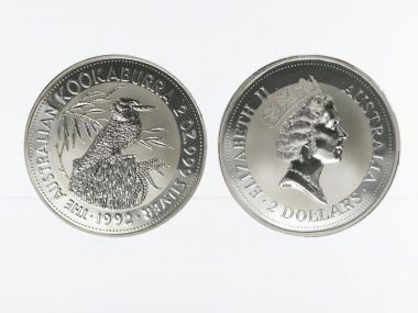Australien 2$ Kookaburra 1992, 2 oz  Silber