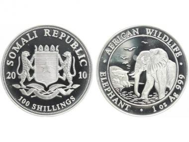 Somalia 100 Sh. Elefant  2010, 1 Unze
