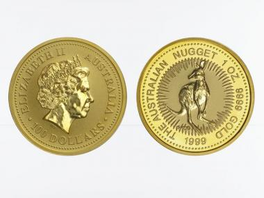 Australien 100 $ Nugget Känguru, 1 Unze  1999