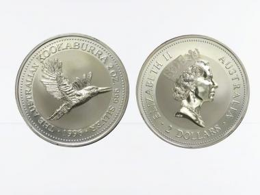 Australien 2$ Kookaburra 1996, 2 oz  Silber