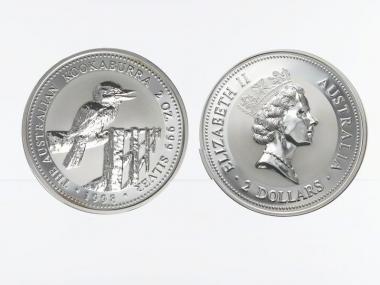 Australien 2$ Kookaburra 1998, 2 oz  Silber