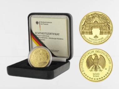 BRD 100 Euro Gold, 2010 D, Würzburg, original