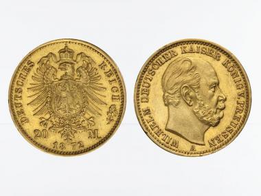 Preussen, 20 Mark Gold, Wilhelm I, 1872 A , Jg. 243