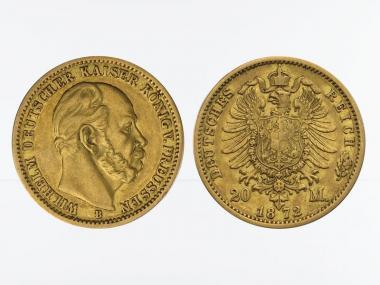 Preussen, 20 Mark Gold, Wilhelm I, 1872 B , Jg. 243