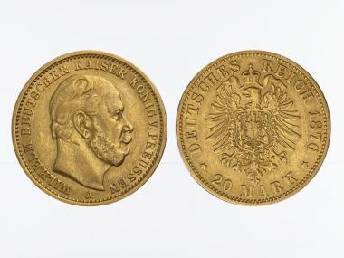 Preussen, 20 Mark Gold, Wilhelm I, 1876 A , Jg. 246