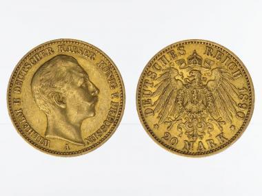 Preussen, 20 Mark Gold, Wilhelm II, 1890 A , Jg. 252
