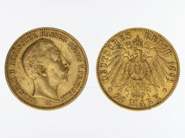 Preussen, 20 Mark Gold, Wilhelm II, 1891 A , Jg. 252