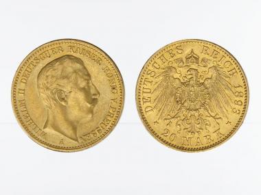 Preussen, 20 Mark Gold, Wilhelm II, 1893 A , Jg. 252