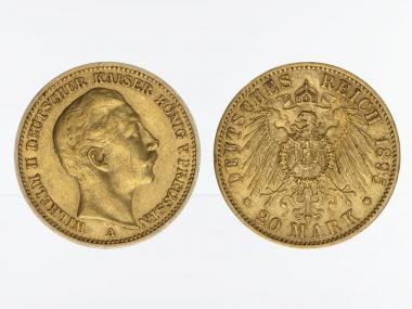 Preussen, 20 Mark Gold, Wilhelm II, 1895 A , Jg. 252