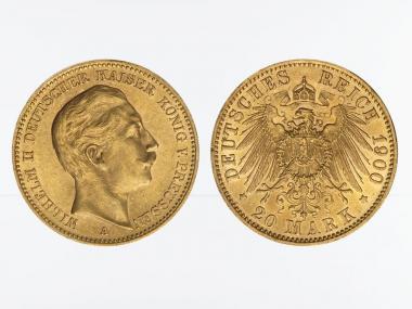 Preussen, 20 Mark Gold, Wilhelm II, 1900 A , Jg. 252