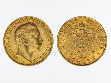 Preussen, 20 Mark Gold, Wilhelm II, 1909 A , Jg. 252