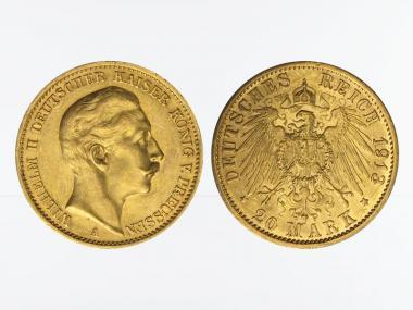 Preussen, 20 Mark Gold, Wilhelm II, 1913 A , Jg. 252