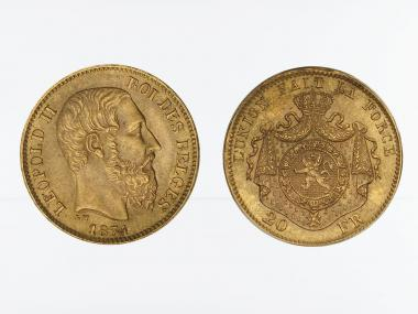 Belgien Leopold II  1874, 20 Francs Gold (A)
