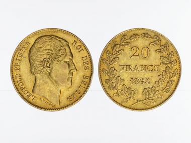Belgien Leopold I  1865 (L. Wiener), 20 Francs Gold