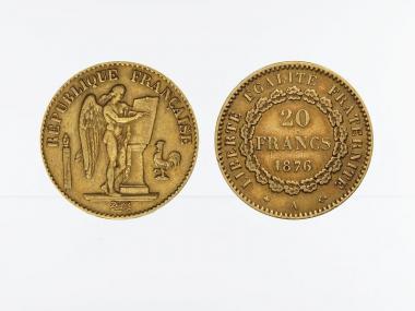 Frankreich 20 Fr. Genius stehender Engel 1876