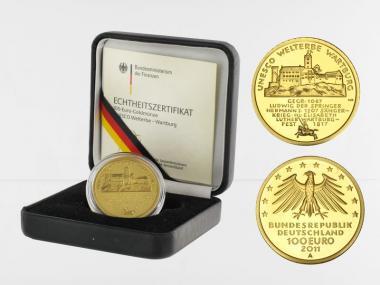 BRD 100 Euro Gold, 2011 D, Wartburg, original