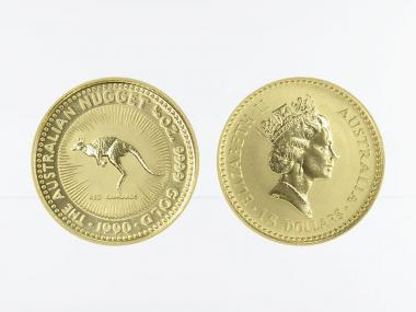 Australien 15 $ Nugget Känguru, 1/10 Unze  1990