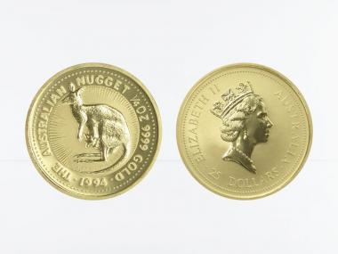 Australien 25 $ Nugget Känguru, 1/4 Unze  1994