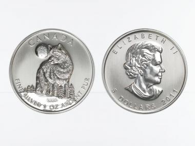 Kanada 5$  Wildlife Wolf ,  1 oz  2011