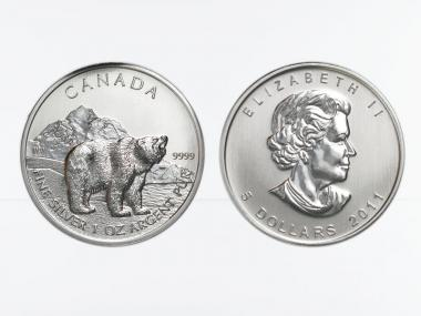Kanada 5$  Wildlife Grizzly Bär ,  1 oz  2011
