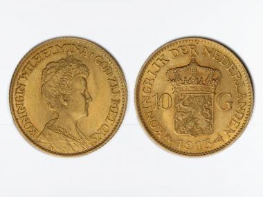 Niederlande 10 Gulden Gold Wilhelmina I. 1913