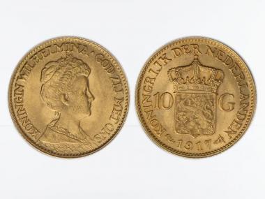 Niederlande 10 Gulden Gold Königin Wilhelmina I. 1917