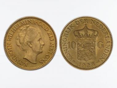 Niederlande 10 Gulden Gold Königin Wilhelmina I. 1925