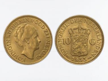 Niederlande 10 Gulden Gold Königin Wilhelmina I. 1933