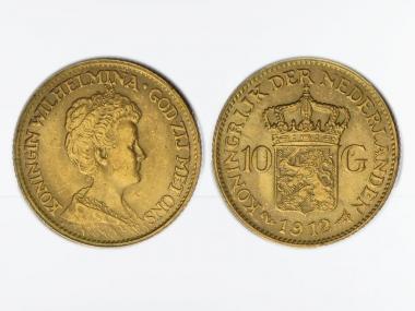 Niederlande 10 Gulden Gold Königin Wilhelmina I. 1912