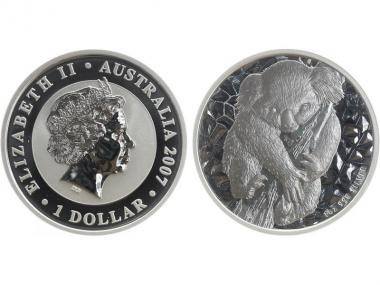 Australien 1$ Koala 2007, 1 Unze  Silber