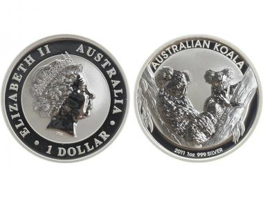 Australien 1$ Koala 2011, 1 Unze  Silber
