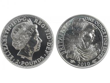 GB 2 Pfd. Silber Britannia 2010, 1 oz