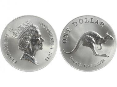 Australien 1$ Känguru 1993, 1 oz  Silber