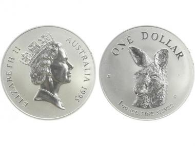 Australien 1$ Känguru 1995, 1 oz  Silber