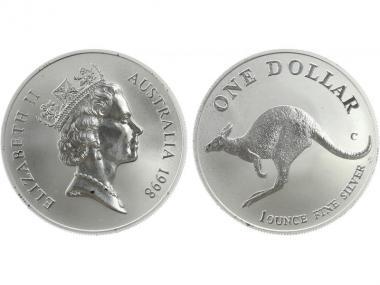 Australien 1$ Känguru 1998, 1 oz  Silber