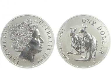 Australien 1$ Känguru 1999, 1 oz  Silber