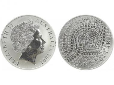 Australien 1$ Känguru 2001, 1 oz  Silber