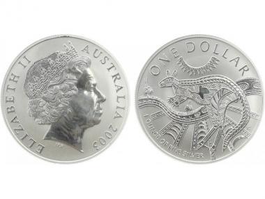 Australien 1$ Känguru 2003, 1 oz  Silber