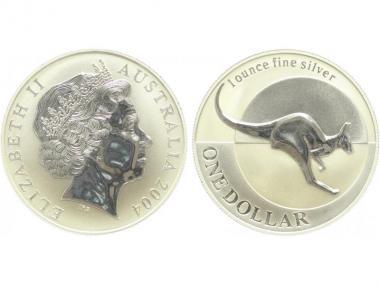 Australien 1$ Känguru 2004, 1 oz  Silber