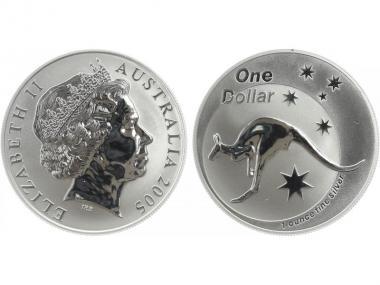 Australien 1$ Känguru 2005, 1 oz  Silber