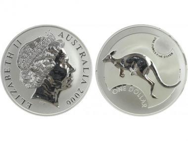 Australien 1$ Känguru 2006, 1 oz  Silber