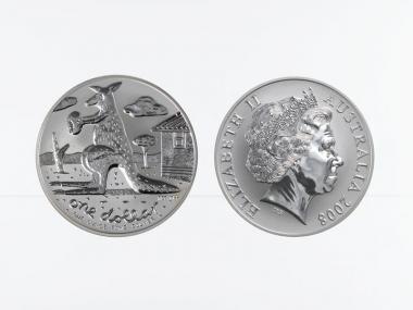 Australien 1$ Känguru 2008, 1 oz  Silber