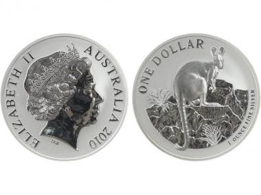 Australien 1$ Känguru 2010, 1 oz  Silber