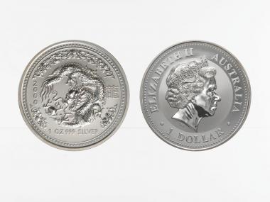 Australien 1 $ Drache Lunar I  2000, 1 oz  Silber