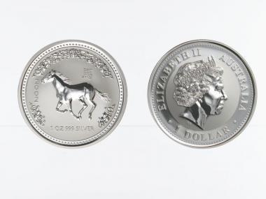 Australien 1 $ Pferd Lunar I  2002, 1 oz  Silber