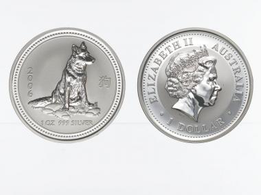 Australien 1 $ Hund Lunar I  2006, 1 oz  Silber