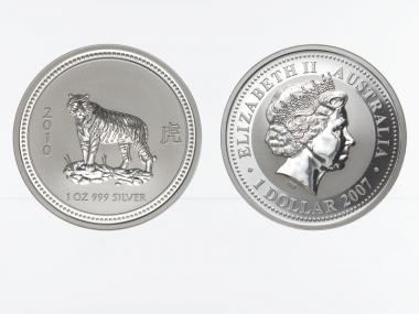 Australien 1 $ Tiger Lunar I  2010, 1 oz  Silber
