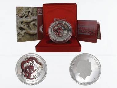 Australien 30 $ Drache Lunar II  2012 coloriert PP, 1 Kilo Silber