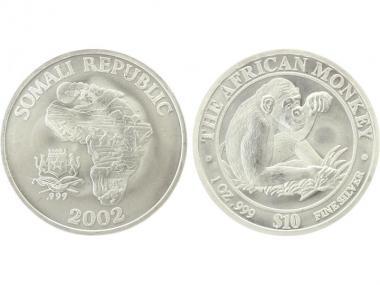 Somalia 10 $  Affe  2002, 1 Unze