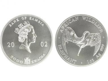 Sambia 5000 K  Elefant  2002, 1 Unze